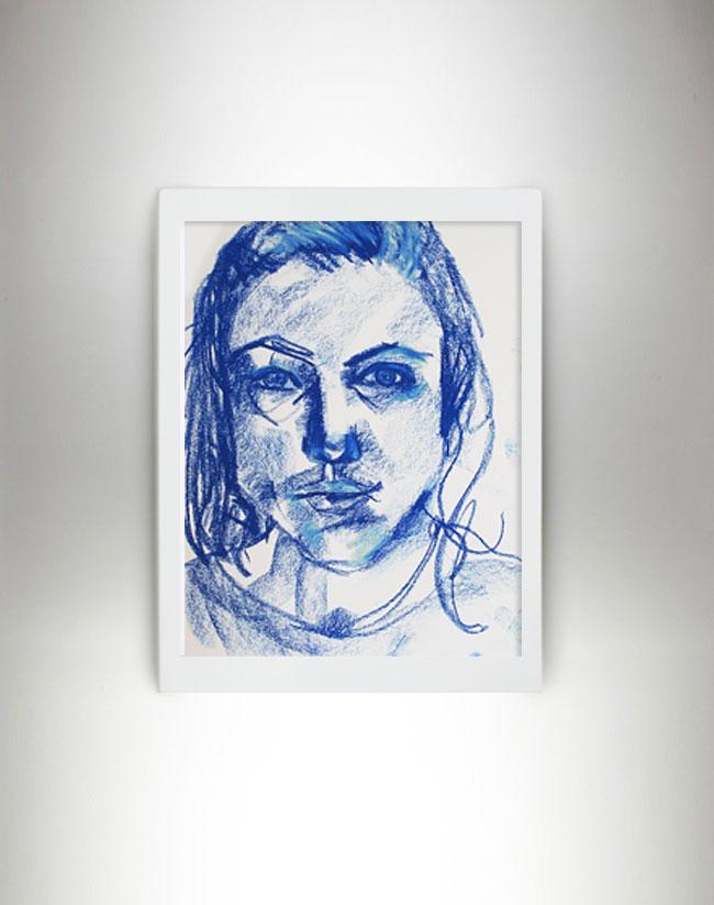 autoportrait-pastel-bleu-clemence-devienne